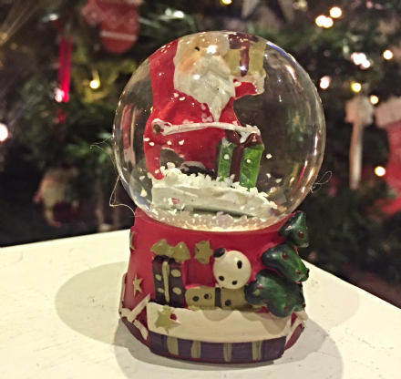 Father Christmas Glass Snow globe ~ Santa & Gift